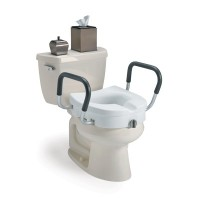 """Raised Toilet Seat w/ Arms, Clamp, 5"""""""